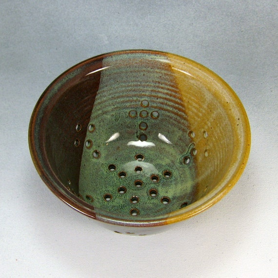 Brown Green and Yellow Small Ceramic Colander or Berry Bowl Hand Thrown Pottery Colander Stoneware Pottery 7