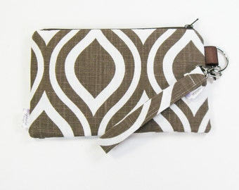 Wrist Purse / Wristlet Clutch / Cell Phone Wristlet - Chocolate Mod