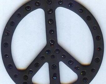 Large Peace Sign Pendant with Jet Black Rhinestones 50mm