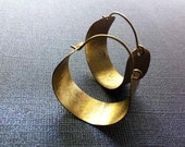 Gold  Hoop Earrings Hammered (Brass) Small