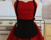 Apron French Maid Solid Red with Black Double Circle Skirt Retro Full Apron