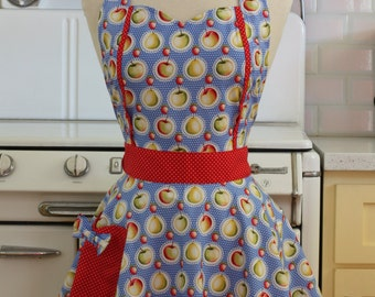 Sweetheart Apron Retro Apples on Blue MAGGIE