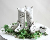 Clay Fox - Wedding Cake Topper Fox - Wedding Fox - Woodland Cake Topper - Rustic Wedding Cake Topper - Fox Cake Topper - Anniversary gift