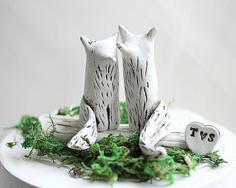 Clay Fox - Wedding Cake Topper Fox - Wedding Fox - Woodland Cake Topper - Rustic Wedding Cake Topper - Fox Cake Topper - Anniversary gift