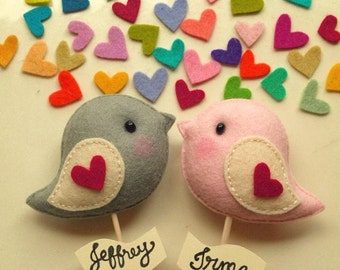 Love Bird (pair) Unique Personalized Wedding Cake Topper, Custom Colors, Party Decor, Wedding Photo Prop, Wedding Gift Favor for Bride Groom