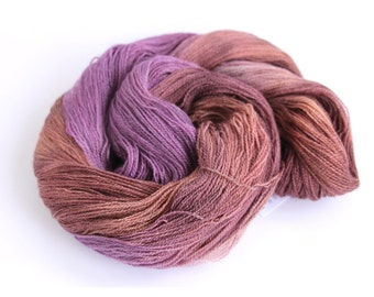 Handdyed yarn, BFL silk laceweight hand dyed Perran Yarns Plum Crumble, purple brown bluefaced leicester variegated wool skein, uk seller