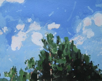 Forest Sky, Orignal July Landscape Painting on Paper, Stooshinoff