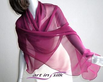 "Wine Red Shawl, Burgundy Wrap, Dark Pink coverup, Sheer Silk Scarf, Pure Silk Chiffon, Small Coverup, Emerald, 21x64"" 21x74"", Artinsilk."