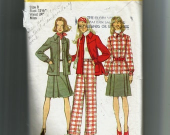 Simplicity Misses' Unlined Shirt-Jacket, Skirt and Pants Pattern 5455