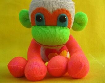 Cliftin - Neon Stars & Striped Handmade Best Friend Sock Monkey Plush Doll - Sock Monkey Plush D.I.Y. Kit No. 856 - No Sewing Machine Needed