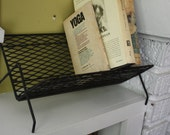 Mid Century Black Metal Book Stand / Caddy / Desktop / Pointed Ends
