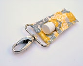 Chapstick Holder, Lip Balm Keychain, Yellow and Grey Flowers