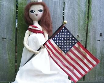 Folk Art Americana Doll Tree Topper
