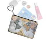 Small Zipper Pouch Coin Purse Keychain Key Fob Business Card Holder Purse Organizer World Map Vintage Map Steampunk  blue RTS