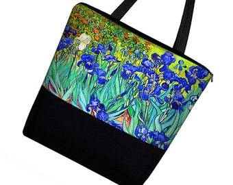 Large Tote Bag with Pockets, Van Gogh Irises Art Bag, Handmade Canvas Tote Bag w/ Zipper,  Iris Floral, blue, orange, purple, green RTS