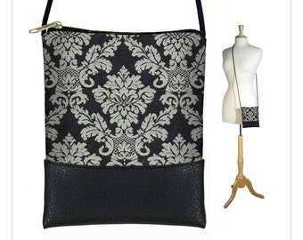 CLEARANCE Mini cross body purse, Small shoulder purse, damask tapestry bag, crossbody bag, cell phone case fits iPhone 6 Plus Case,  RTS