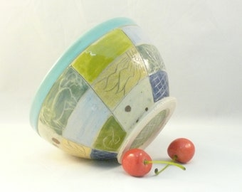 Pottery bowl, ceramic soup bowl, handmade salad bowl, kitchen serving dish, decorative vessel, Patchwork Design