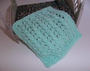 1/12 Scale/ Miniature Blanket/ Crib Doll House Blanket/Afghan - Mint Green Blanket  One Twelfth Scale Doll House