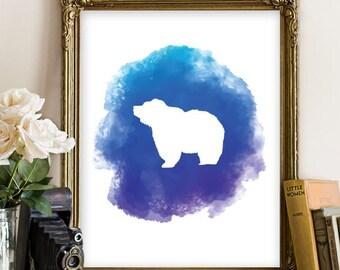 Bear Printable, Animal Printable, Nursery Wall Art, Nursery Poster, Nursery Printable Art, Home Decor, Bear Watercolor Art, Animal Art 121