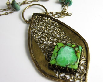 Turquose Drop Necklace - Arabesque Brass Drop with Turquoise