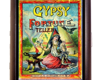 Gypsy Fortune Telling Game Cigarette Case Business Card Holder Wallet Victorian Board Game Box Illustration