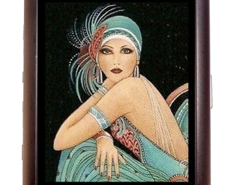 Flapper Girl 1920's Cigarette Case Business Card Wallet MP3 Holder Art Deco 20's Follies Showgirl Great Gatsby Jazz Age