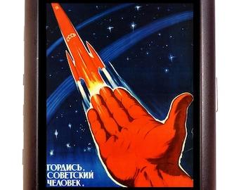 Soviet USSR Propaganda Cigarette Case Business Card Wallet MP3 Holder Vintage Poster Russia Communist Hammer & Sickle Cold War Space Age