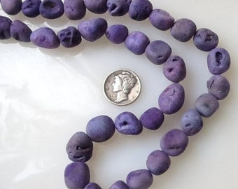 Purple Druzy Crystal Agate Freeform Nugget Beads Avg Size 10-15mm Half Strand
