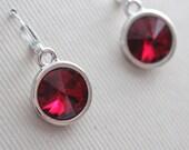 Swarovski Rivoli Earrings - Silver Plated - Bridal Party - Bridesmaid - Wedding Jewelry - Dark Red Crystal
