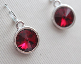 Swarovski Rivoli Earrings - Silver Plated - Bridal Party - Bridesmaid - Wedding Jewelry - Dark Red Crystal