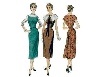 50s uncut Wiggle Dress pattern Hourglass Dress pattern Fitted Dress vintage pattern 34-28-37 va-voom advance 6803