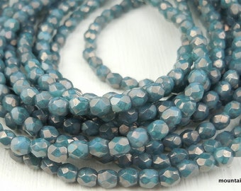 Czech Glass Beads 3mm Blue Turquoise Bronze Faceted Round Beads (G - 24)