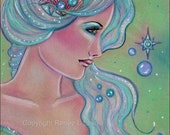 Original drawing fantasy portrait mermaid Myrna  by Renee Lavoie