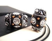 50 PERCENT OFF, 4 Black Silver Brass Kashmiri Beads, 18mm, Large Barrel, UBER Tribal, Black Polymer Clay Jewelry Beads, Custom Made KS19