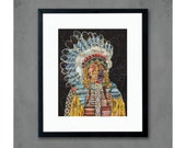 Native American Indian with Constellations Art Print