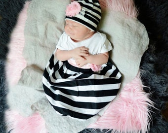 Black and white striped Baby GOWN... new baby