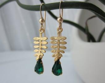 Gold earrings, emerald green jewelry, May birthstone jewelry, emerald earrings, fern jewelry, woodland wedding earrings, dainty earrings