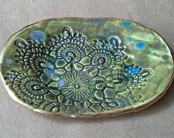 Ceramic Lace Moss Green Trinket Dish edged in gold