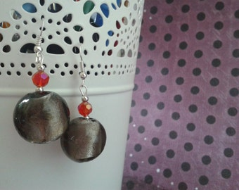 Ash & Ember - Pair of Glass Bead Earrings - Smokey Charcoal Grey and Fire Red