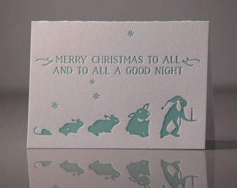Merry Christmas to all and to all a good night Cards - Holiday Cards - Bunny Holiday Cards - Holiday Pack of 6 - Letterpress Cards