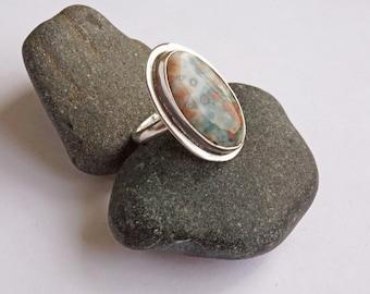 Ocean Jasper Sterling Ring, Ocean Jasper Ring, Green Pink Ring, Sterling Ring