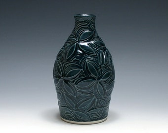 Dark Blue Pottery Vase with Carved Flowers