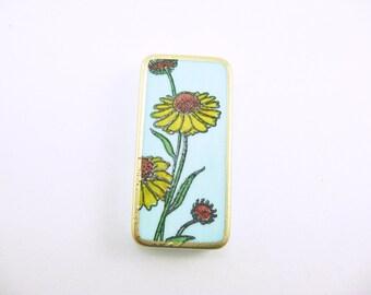 Daisy Domino Magnet, Cute Fridge Magnet, Blue Yellow, Refrigerator Magnet, Flower, Floral, Garden