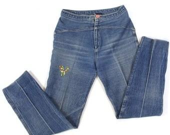 1980s Frederick's of Hollywood Jeans / Vintage Distressed Denim / 29