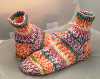 Hand Knit Women Sock Slippers in US Shoe Size 8 to 9