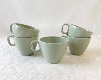 Melamine Coffee Cups, Set of 5, Boonton Somerset, Vintage Green Plastic Kitchen Tableware