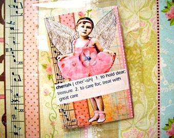 Mini Art Zine Cherish Her XOXO Love Her Always Valentines Mothers Day or Birthday Surprise Pretty Pink
