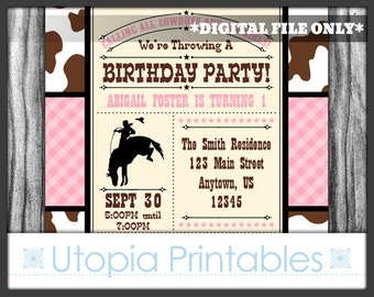 Pink Brown Cowgirl Theme 1st Birthday Invitation Girl Cowhide First Birthday Country Western Old West Party Digital Printable Customized 5x7