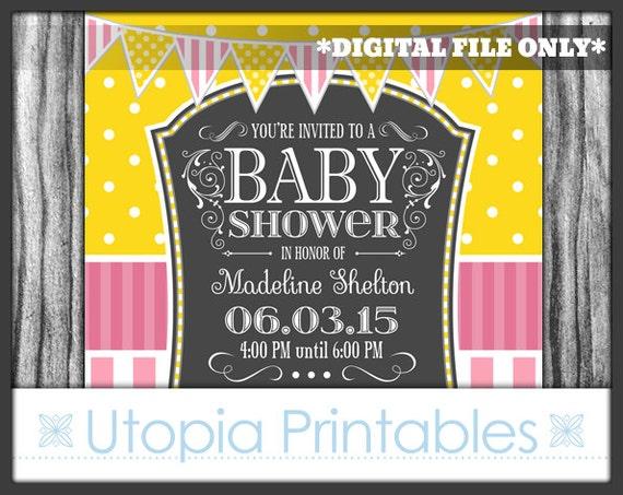 Pink yellow gray baby shower invitation girl stripes polka dots il570xn filmwisefo