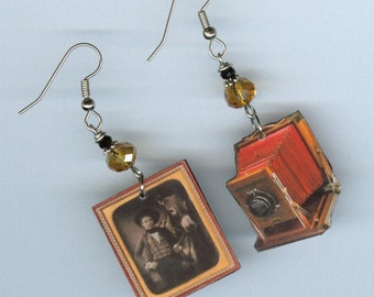 Camera Earrings - Vintage Bellows cameras - Daguerreotype photo - photography photographer's gift